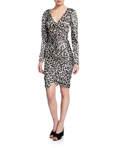 Colette Ruched Leopard-Print Cocktail Dress