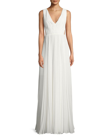 Fame and Partners Side-Cutout Accordion-Pleated Gown