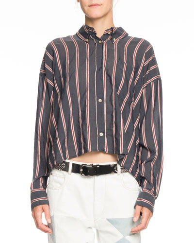 Ycao Long-Sleeve Cropped Button-Front Blouse