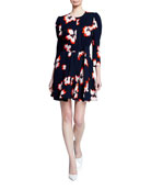 A.L.C. Stella Floral Silk 3/4-Sleeve Short Dress