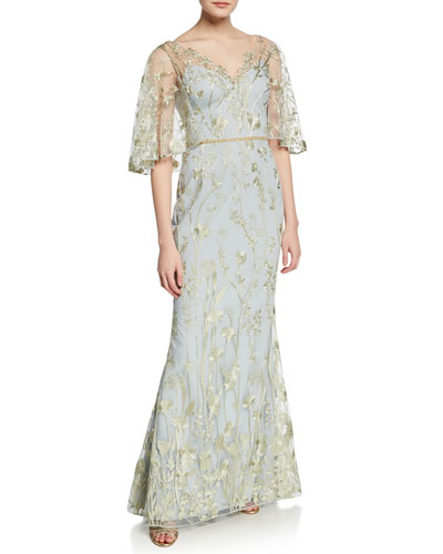 Floral-Embroidered V-Neck Mermaid Gown with Cape Illusion