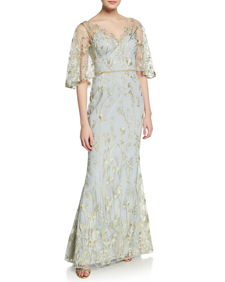 Marchesa Notte Floral-Embroidered V-Neck Mermaid Gown with Cape Illusion
