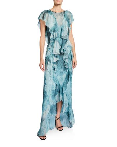 Lemmon Dark & Stormy Cascading Ruffle Gown