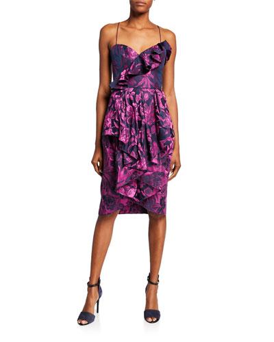 Shelley Sweetheart Floral Jacquard Sleeveless Ruffle Dress