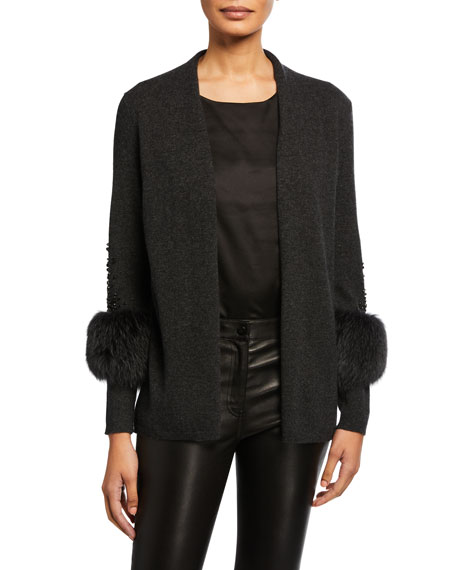 Neiman Marcus Cashmere Collection Cashmere Embellished Fur Cuff Cardigan