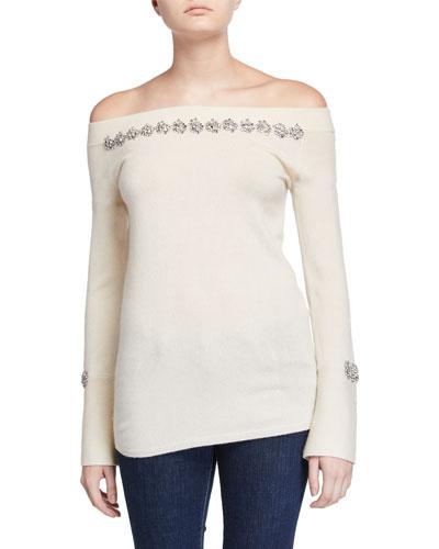 Cashmere Off-the-Shoulder Long-Sleeve Embellished Sweater