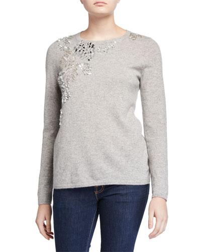 Cashmere Embellished Long-Sleeve Crewneck Sweater