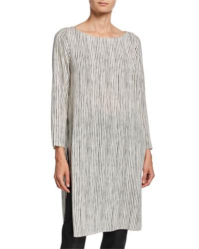 Linear Stripe Ballet-Neck Silk Crepe Tunic
