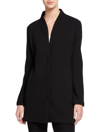Chevron Button-Front Long Jacket with High-Collar