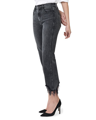 Austin Crop High-Rise Jeans with Shredded Hem