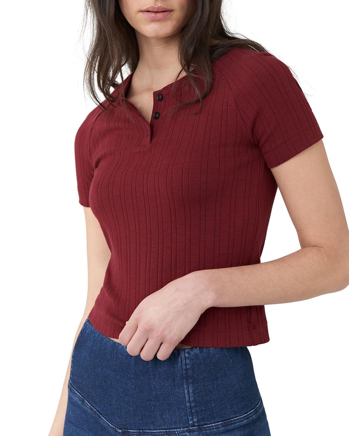 3x1 Knits CROPPED SHORT-SLEEVE SLIM KNIT HENLEY TOP