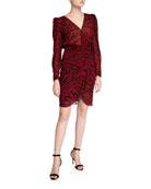 ba&sh Saphir Zebra-Print Long-Sleeve Short Dress