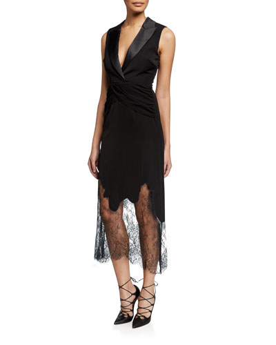 Sleeveless Tailored Cocktail Dress with Lace