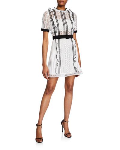 Monochrome Lace Frill Mini Dress