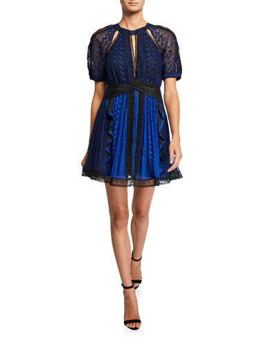 Geometric Lace Short-Sleeve Mini Dress