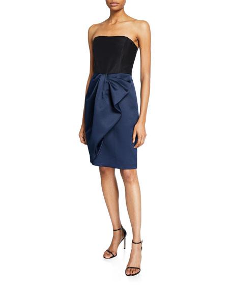 Halston Colorblock Strapless Bow-Drape Bonded Satin Dress