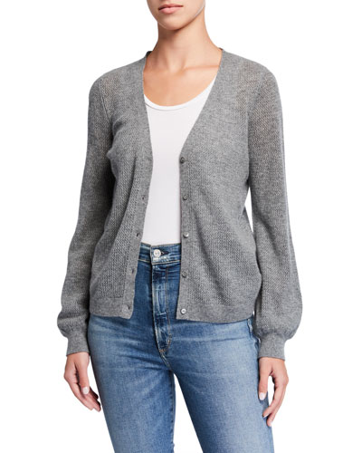 Cashmere Button-Front Cardigan with Puffy Sleeves