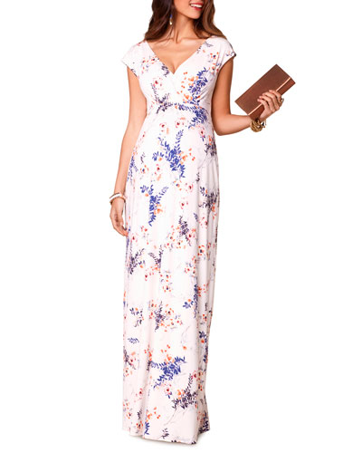 Maternity Leaf-Print V-Neck Cap-Sleeve Maxi Dress