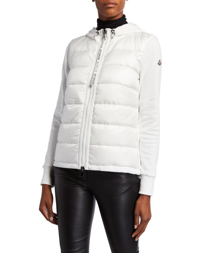 Puffer-Front Cardigan