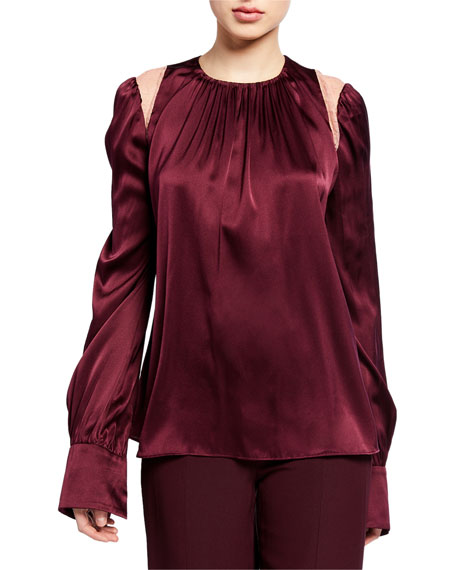 Jonathan Simkhai Silk Crewneck Long-Sleeve Blouse with Lace Insets