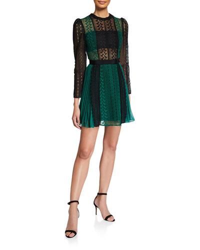 Geometric Lace Chiffon Mini Dress