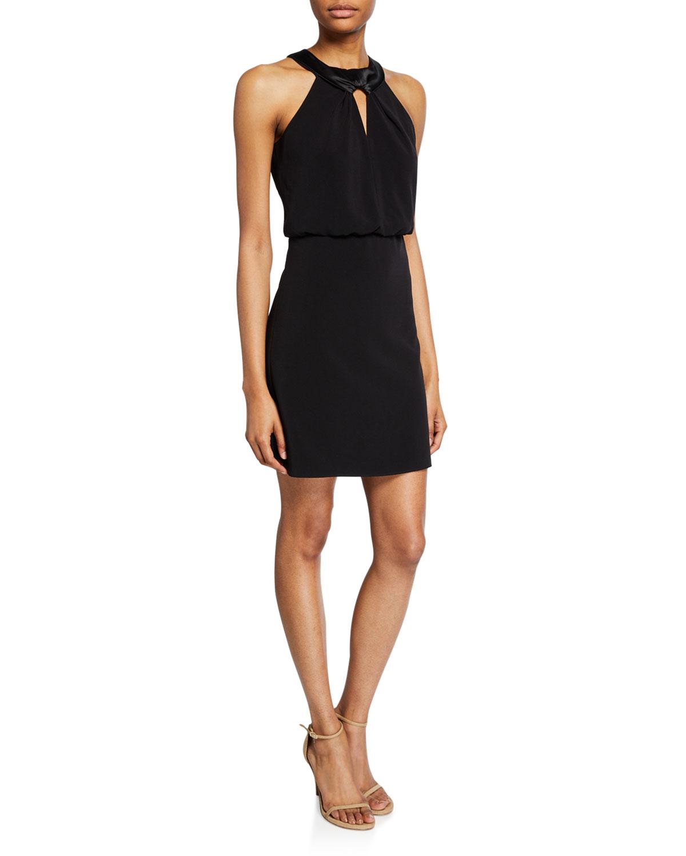 Halston Dresses SATIN NECK CREPE HALTER DRESS