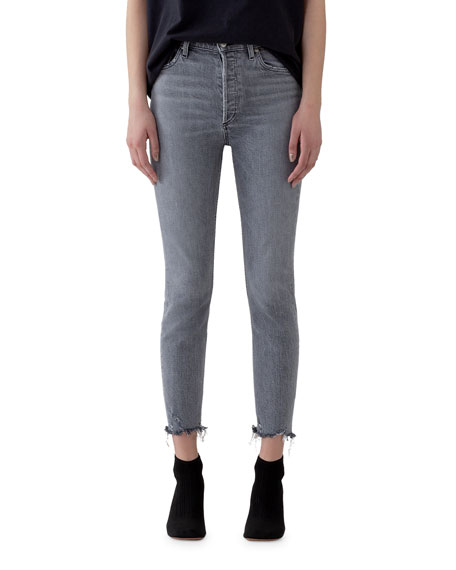 AGOLDE Nico High-Rise Slim Ankle Jeans with Raw Hem