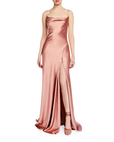 Crepe Back Satin Cowl-Neck Gown