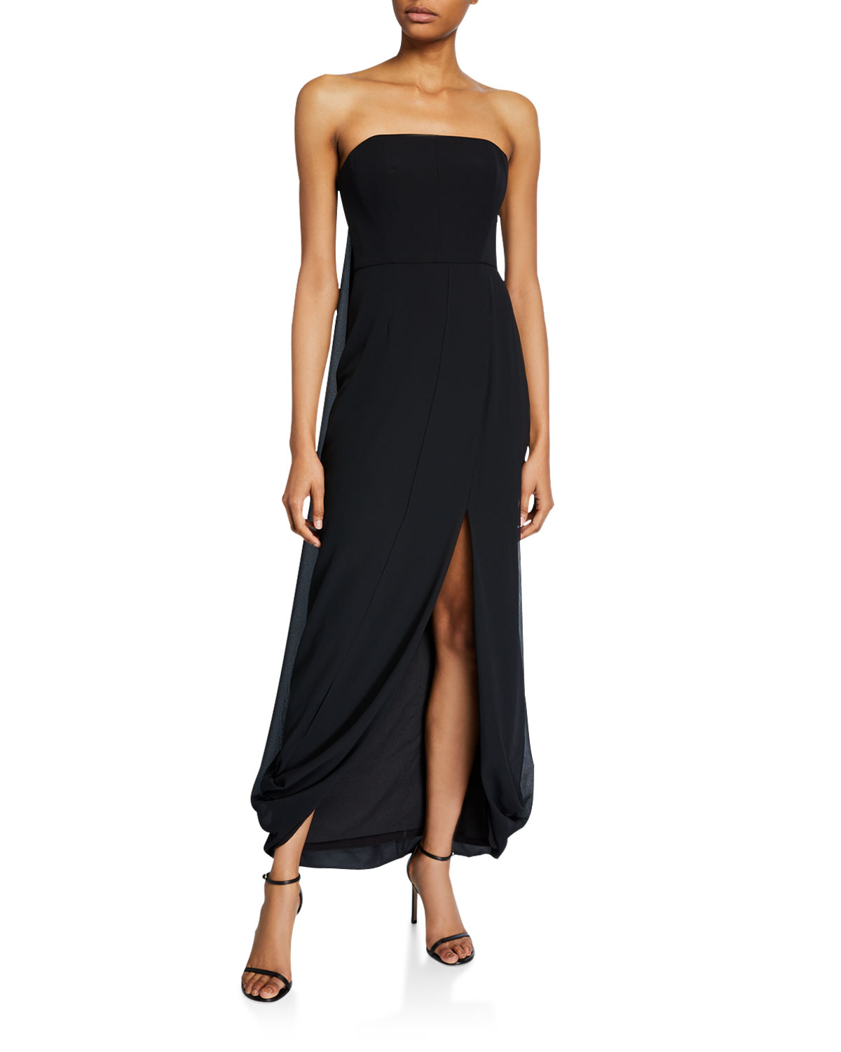 Halston Tops STRAPLESS DRAPED-BACK HIGH-LOW GEORGETTE GOWN