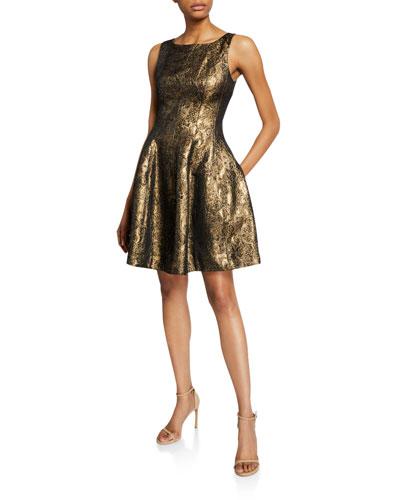 Metallic Jacquard Flare Dress Neiman Marcus