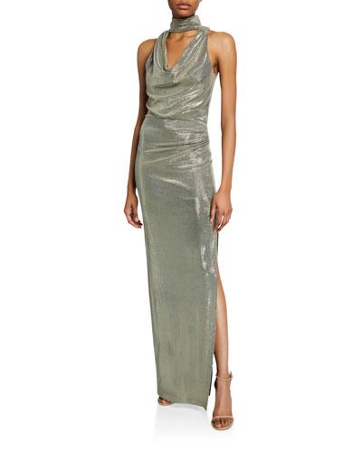 Metallic Draped-Neck Sleeveless Column Gown