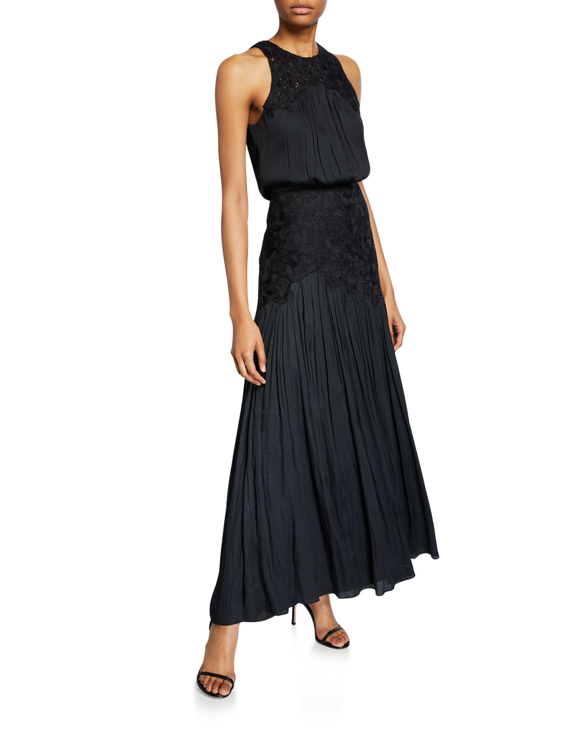 Halston Tops METALLIC MEMORY GEORGETTE FLORAL APPLIQUE SLEEVELESS GOWN