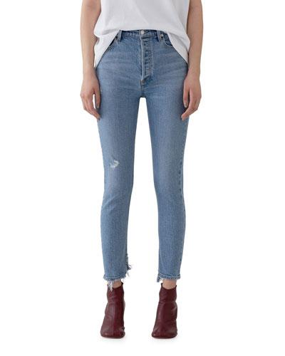 Nico High-Rise Slim Jeans with Shredded Hem