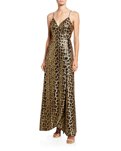Leopard Sequin Sleeveless Wrap Dress