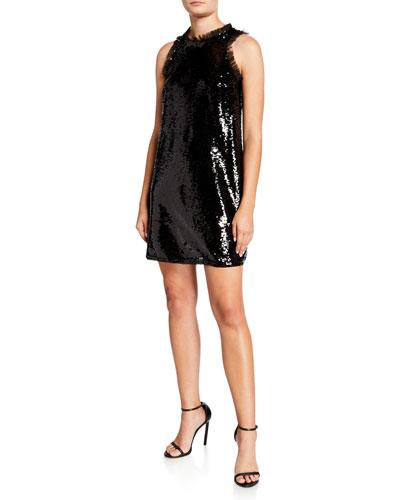 Sequin Trapeze Sleeveless Short Cocktail Dress