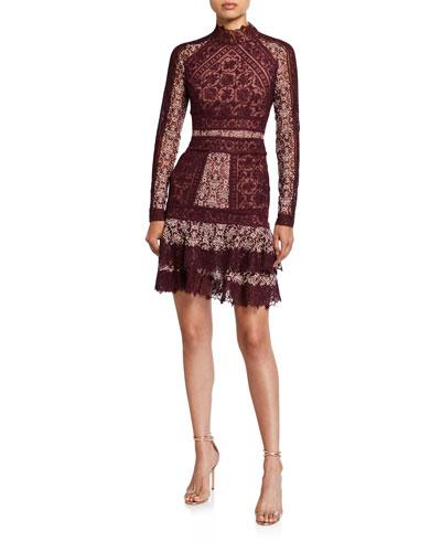 Scarf-Print Embroidered Ruffle Mini Dress