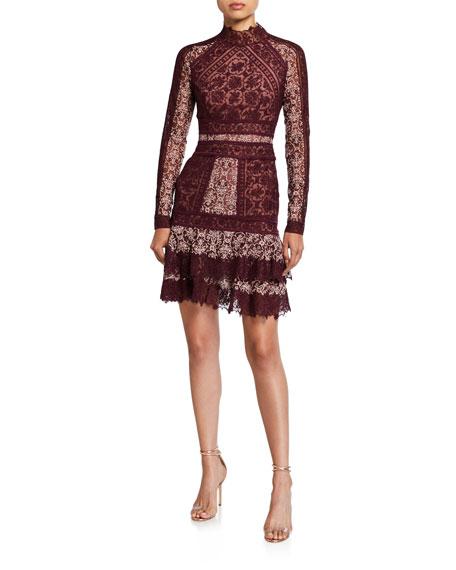 Jonathan Simkhai Scarf-Print Embroidered Ruffle Mini Dress