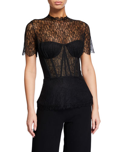 Mixed Silk Lace Bustier Top