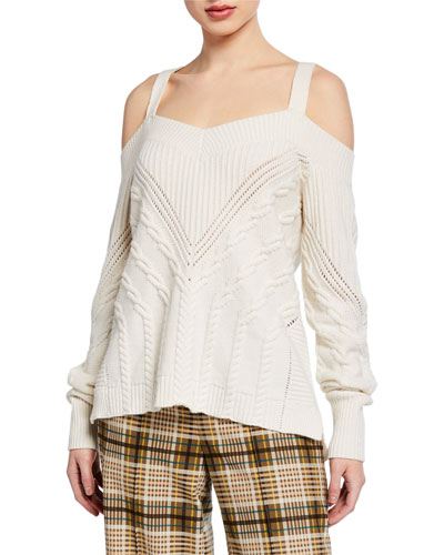Cold-Shoulder Wool Sweater with D-Ring Straps