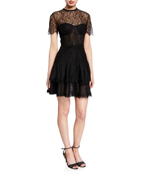 Jonathan Simkhai Mixed Lace Short-Sleeve Bustier Dress