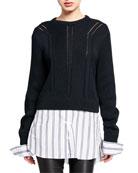 Jonathan Simkhai Chunky Cotton Oxford Combo Sweater