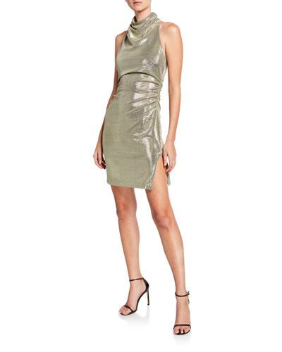 Metallic Draped Mock-Neck Sleeveless Mini Dress