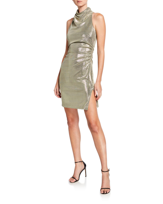 Halston Dresses Metallic Draped Mock-Neck Sleeveless Mini Dress