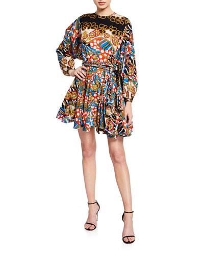 Ella Printed Cotton Short Flounce Dress