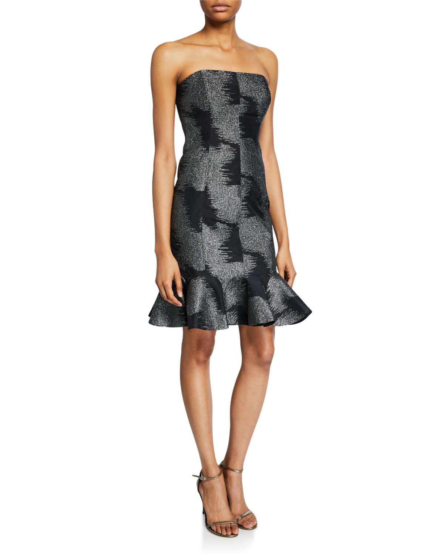 Halston Dresses METALLIC ABSTRACT JACQUARD STRAPLESS DRESS