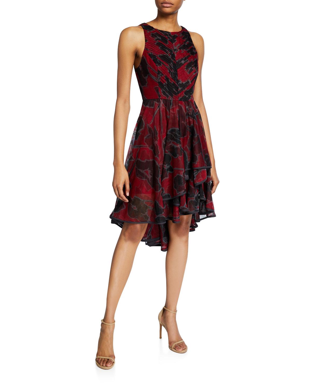 Halston Dresses FLORAL-PRINT SLEEVELESS HIGH-LOW TULLE DRESS