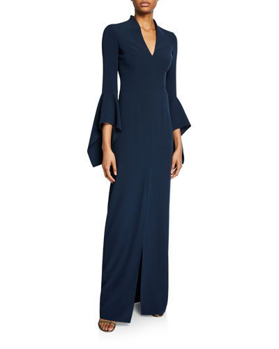 V-Neck Flounce-Sleeve Crepe Gown