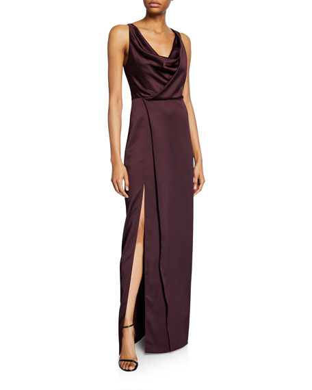 Halston Cowl-Neck Satin Slip Gown