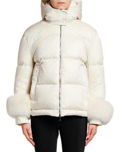 Fraie Puffer Jacket w/ Fur Cuffs