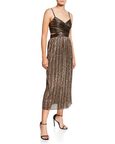 Pleated Metallic Stripe Sleeveless Midi Cocktail Dress